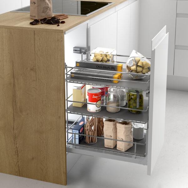 Despensa extraíble para ordenar los cajones de la cocina moderna