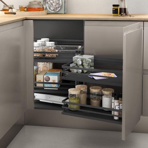 Despensa extraíble para armario de rincón, con la cual podrás optimizar el espacio y el tiempo