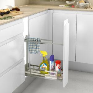 Accesorio de limpieza extraíble, para guardar cosas de manera ordenada en una cocina moderna y funcional
