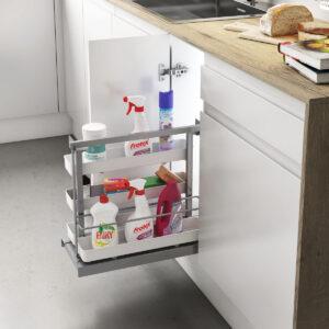 Accesorio de limpieza extraíble, para almacenar productos de limpieza de forma ordenada en una cocina moderna y funcional