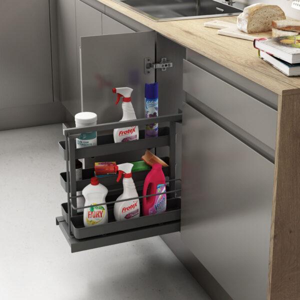 Accesorio para guardar productos de limpieza acabado en color antracita