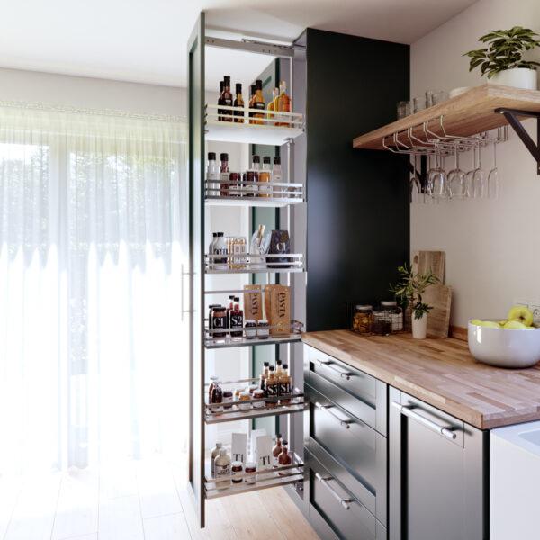 Columna extraíble para almacenaje en el mueble de cocina