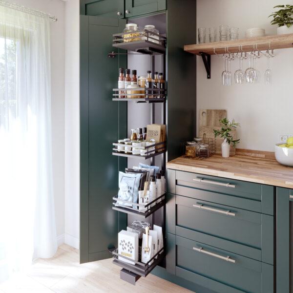 Despensa extraíble para muebles altos de cocina antracita