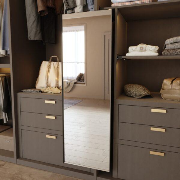 Espejo extraíble en antracita para armario ropero Casaenorden